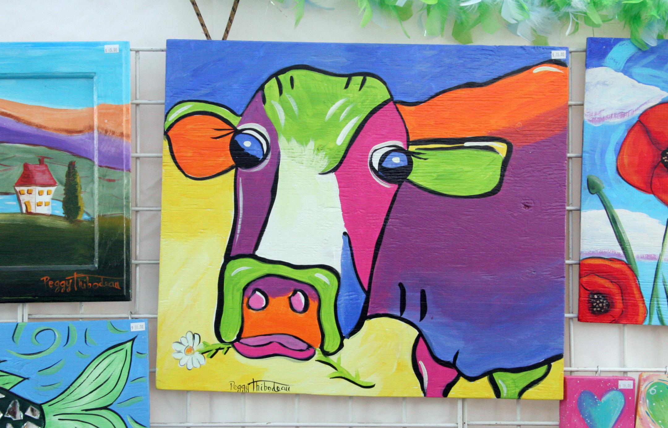 folk art cow painting