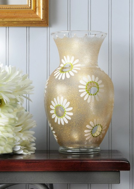 Extreme Glitter Gold Glass Vase
