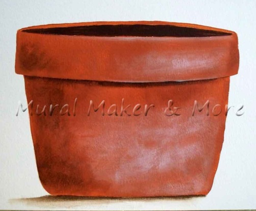 realistic painted flower pot