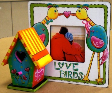 Funky Love Birds Picture Frame