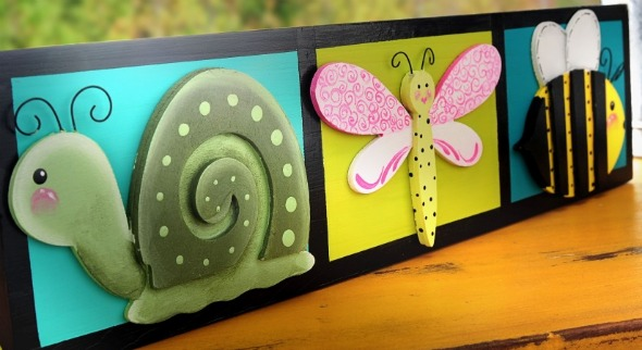 Garden Organizer with Snail, Dragonfly and Bumble Bee.