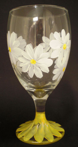 A glass painted using Donna Dewberry's One Stroke technique.