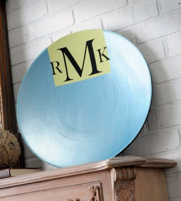 Ice Blue Metallic Monogrammed Bowl