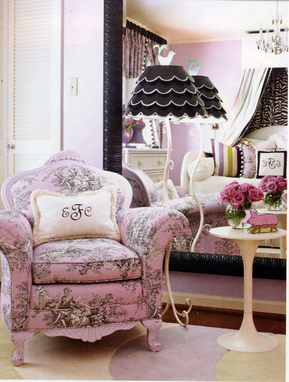 Edgy Yet Feminine Bedroom from Traditional Home magazine