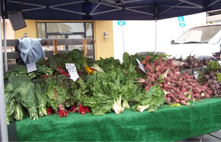 A vegetable stand at the Long Beach Farmer's Market.