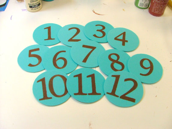 The finished numbers.