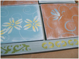 Use an almost dry brush when you stencil.