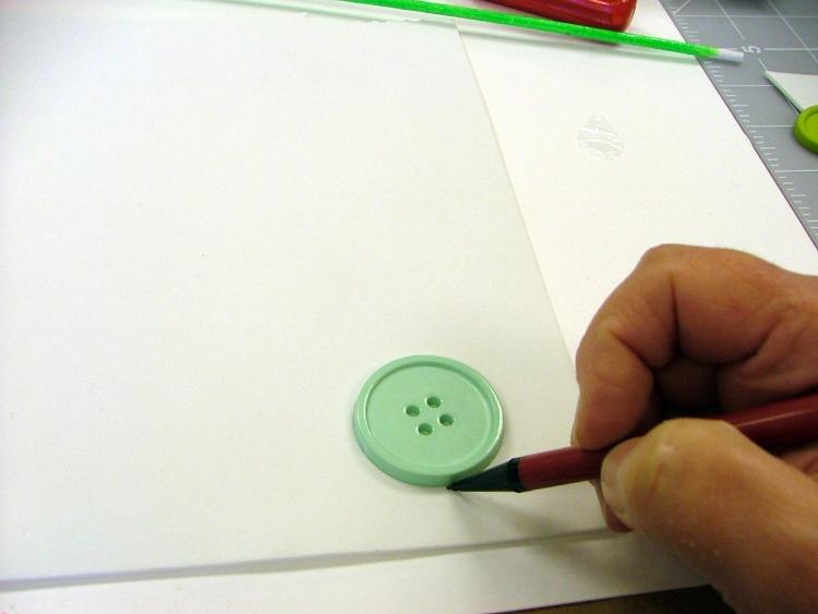 Trace button on foam.